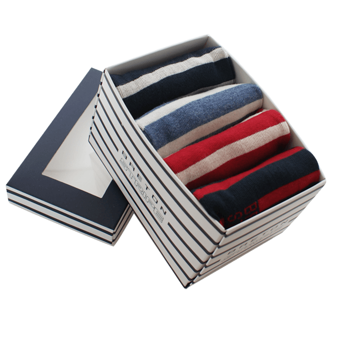 BretonStripe-socks-in-box 1357-navy-bordeaux-navy jeans