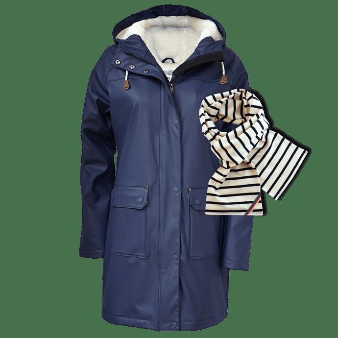 BretonStripe Combi Raincoat 60 Navy 02 natural navy Scarf